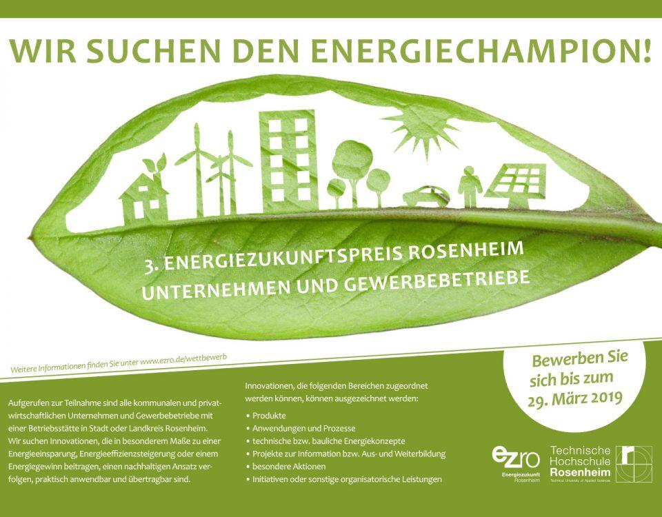 Plakataushang zur Bewerbung beim 3. Energiezukunftspreis. Einsendeschluss 29. März 2019.