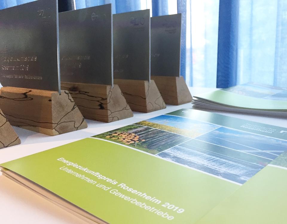 Preis-Plakette und Mappe mit Urkunde für den Energiezukunftspreis