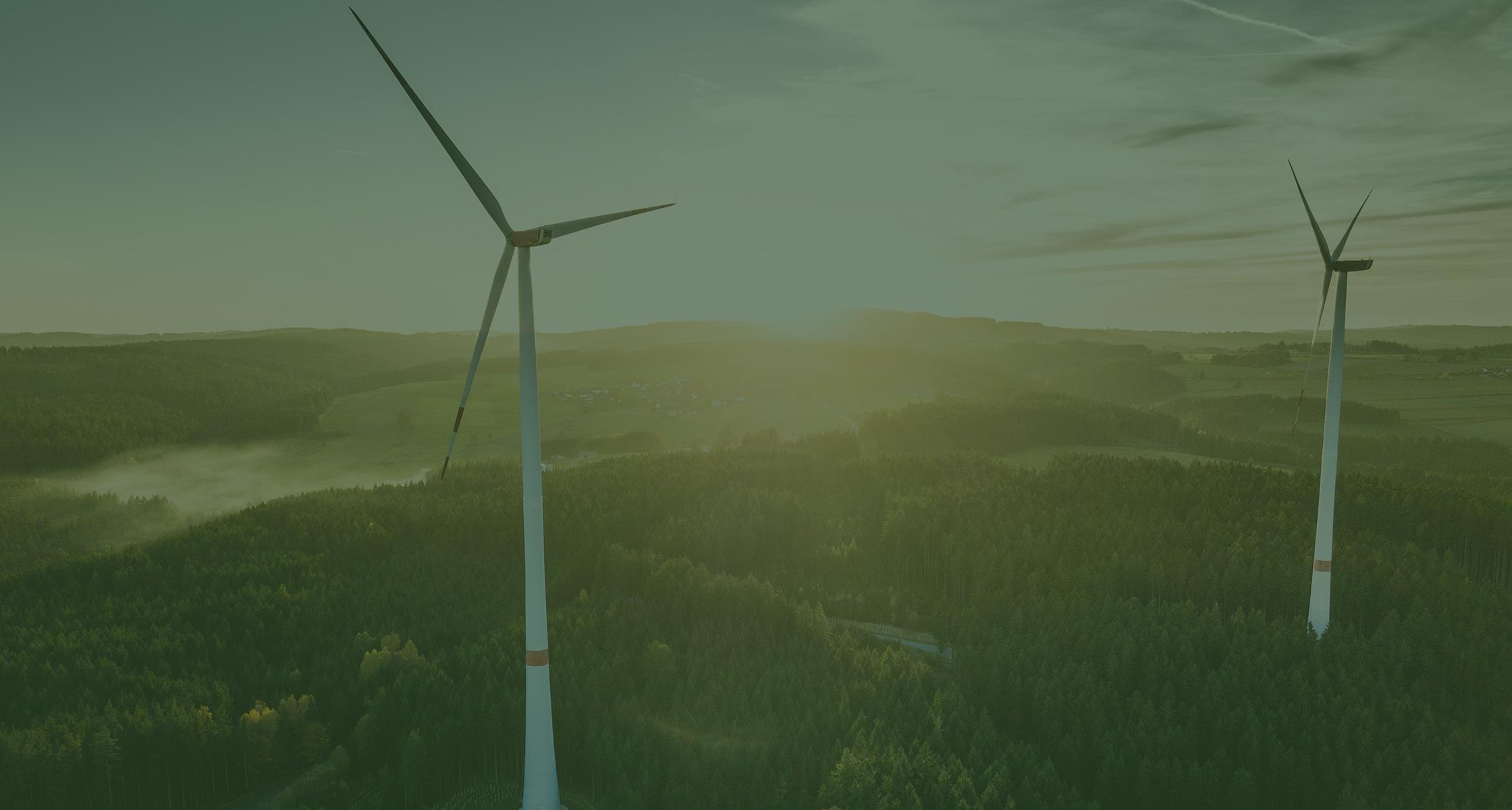 Rein dekoratives Element. Zu sehen ist ein Bild von zwei großen Windrädern, welche inmitten einer weitläufigen Waldfläche stehen. Man erkennt im Hintergrund die untergehende Sonne. Das Bild hat insgesamt ein grünes Overlay aus gestalterischen Zwecken.
