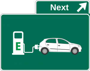 Symbol: Fahrzeug an einer Elektroladesäule